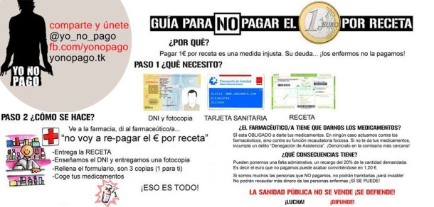 Campaña informativa del colectivo 'Yo no pago' para no pagar el euro por receta, junio 2012