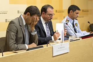 Rueda de prensa; Ramon Espadaler, Manel Prat, Josep Lluís Trapero