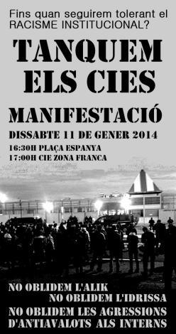 Cartel de la manifestación por el cierre de los CIE; sábado, 11 de enero de 2014