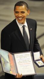 Obama recibiendo el Nobel de la Paz, 2009