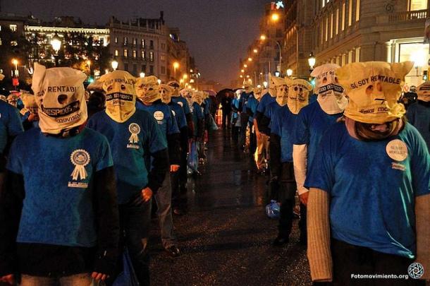 Flashmob y fin de los 23 días de huelga de hambre de los trabajadores de Telefónica, noviembre 2012 | Foto: Manu para Fotomovimiento