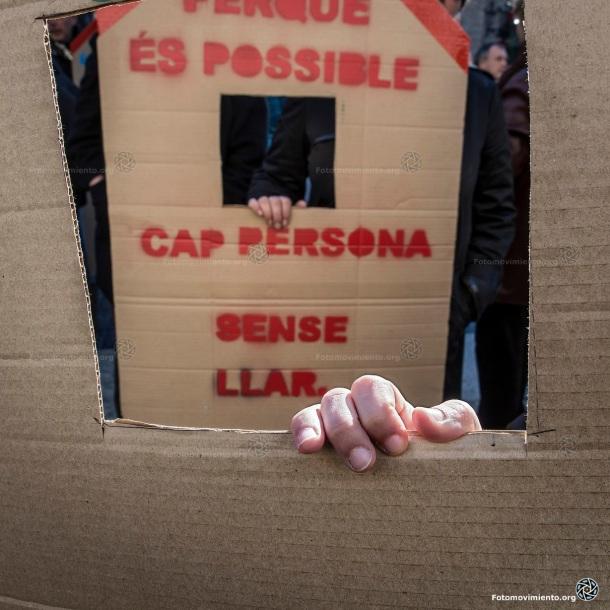 Flashmob personas sin hogar, Barcelona, 26 de noviembre de 2015 | Foto: Jorge Lizana para Fotomovimiento